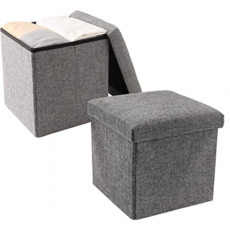 Color : Black, Size : 40 * 40 * 40cm GYHUJI Elektrischer Kamin Foldable Seat Stool ,Foldable Bench Seat,Foldable Seat Cube Seat Box Footstool Storage Box Chair Box Holds Up to 300 Kg