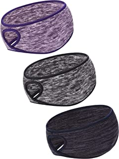 Blulu 3 Pieces Ponytail Headband Women Winter Headband Ear Warmer Running Headband for Women Girls Outdoor Sports, 3 Colors