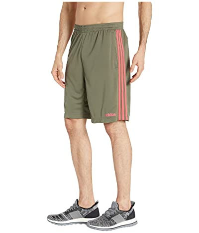 adidas D2M 3-Stripe Shorts (Raw Khaki/Shock Red) Men