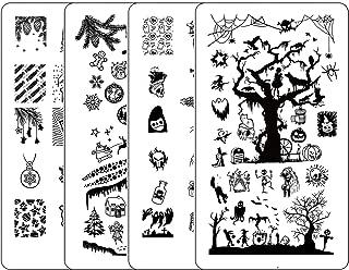Nail Stamping Kit Halloween - Ejiubas Nail Stamping Plates 2PCS Double-Sided Christmas Stamping Plate for Nails Nail Art Plates X19X20