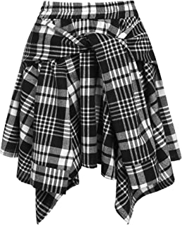 Chigant Women's Plaid Skirt A line Pleated Skirts Irregular Bandage Check Skirt