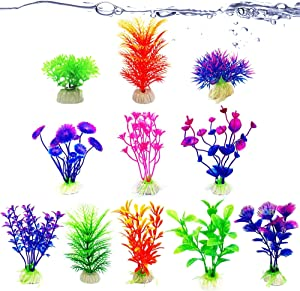 """JOR Aquarium Artificial Plants, Fish Tank Decors with Base, Between 2"""" and 5.1"""" in Height, 11 Plants per Pack"""