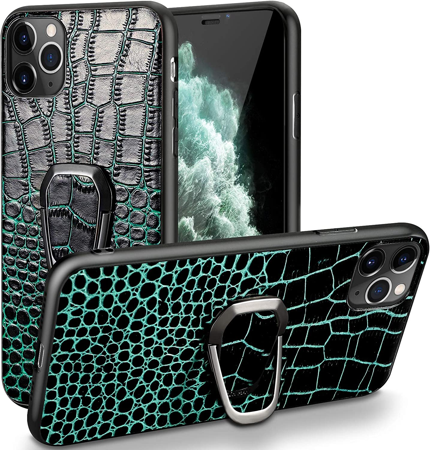 iPhone 11 Pro max Leather Case with Stand,Real Cowhide Crocodile Pattern Mobile Phone case