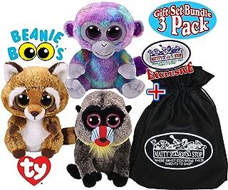 TY Beanie Boos Zuri (Monkey), Rusty (Raccoon) & Wasabi (Baboon) Gift Set Bundle with Bonus