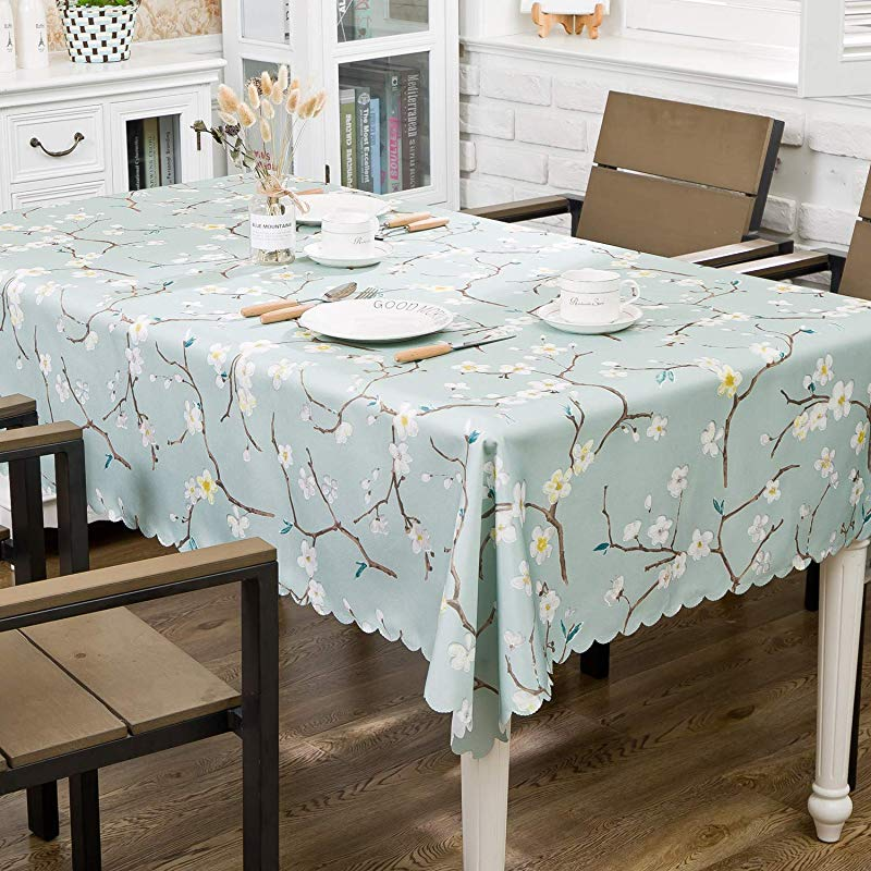 OstepDecor Floral Print Tablecloth 52 X 70 Inches Waterproof Decorative Table Top Cover For Kitchen Dining Room End Table Protection Rectangle Oblong Plum Blossom
