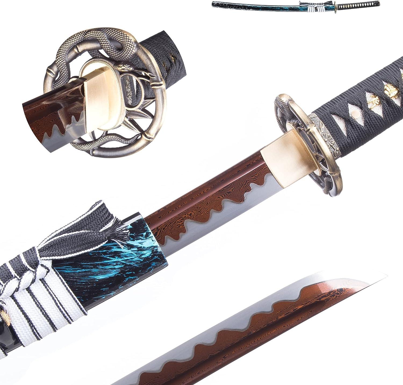 Samurai Sword Japanese Katana Columbus Mall 1095 + San Francisco Mall Steel Folded Full Tang 1060