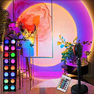 XiuLing Room Sunset Light Projector Night Light, Background Atmosphere Light, Rainbow RGB Sunset 16 Color Light with Remot...