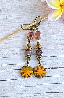 Pendientes largos con cuentas de cristal checa naranja y morado, regalos únicos hechos a mano para mujer
