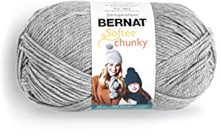Bernat Big Ball Chunky Solid Yarn, 14 oz, Gauge 6 Super Bulky, 100% Acrylic, Grey Heather