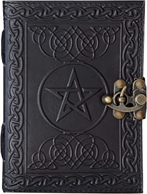 Handmade Black Pentagram Embossed Leather Journal Pentacle Book of Shadows Notebook Diary Appointment Organizer Daily Planner