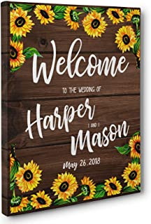 Sunflower Welcome To Our Wedding Ceremony Personalized Canvas Art