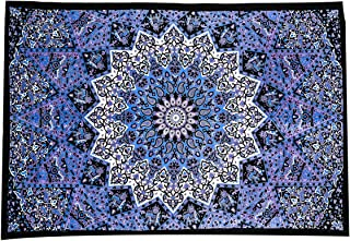 Nidhi Blue Celestial Twin Size Mandala Tapestry, Wall Hanging, Picnic Blanket, Beach Mat, Bedcover, sofa throw, stetains, ...
