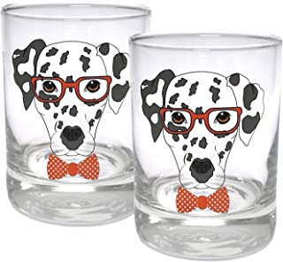 Circleware 15500 Dalmatian Dogs Double Old Fashioned Whiskey, Set of 2 Kitchen Drinking Glasses Glassware for Water, Juice, Beer and Best Bar Barrel Liquor Dining Decor Beverage Gifts, 11.25 oz, Red,