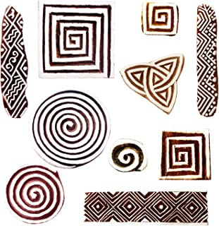 Royal Kraft Wooden Stamps for Block Printing on Saree Border, Textile, Clay, Pottery, Tattoo (Set of 10) MXtag0011
