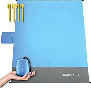 HoneyBull Beach Blanket [55x70] Pocket Sized Picnic Blanket with Travel Bag - Blue