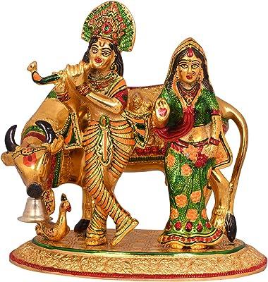 Collectible India Metal Radha Krishna Idol Kamdhenu Murti Showpiece (Golden, 9.5 x 9 Inches)