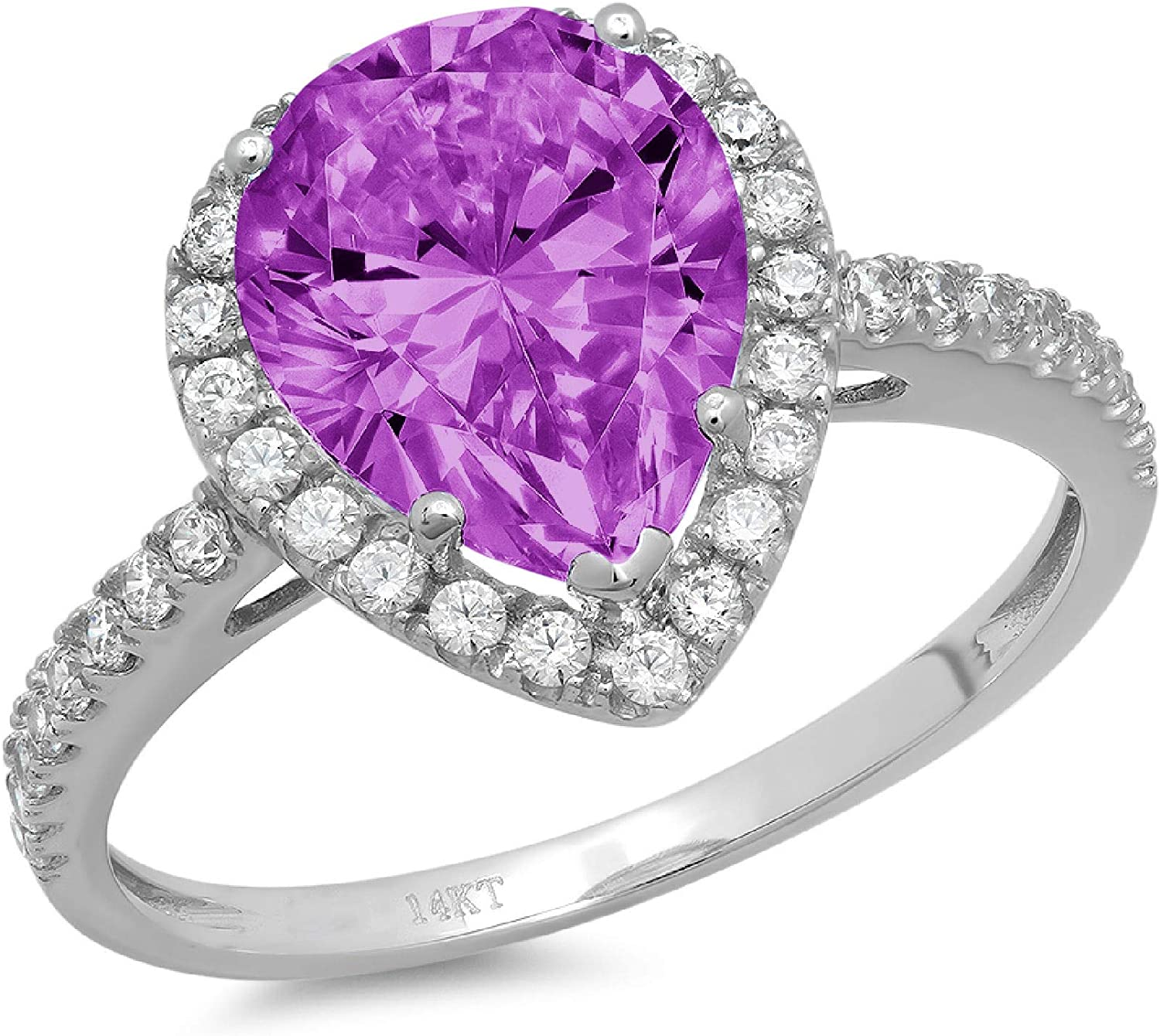 NEW before selling 2.5 Brilliant Pear Cut Solitaire Overseas parallel import regular item with Genui Stunning Accent Halo