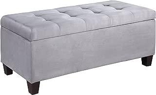 Linon 40602GRY-01-KD-U Carmen Shoe Storage Ottoman, Grey, 20