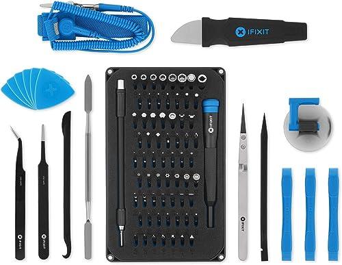 iFixit Pro Tech Toolkit, Juego de Herramientas con 64 puntas de precisión (4 mm) y mango destornillador para reparar ...