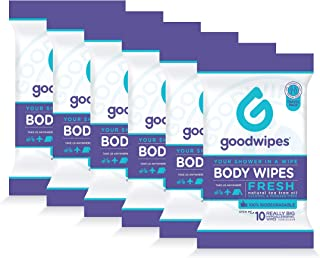Goodwipes Really Big Body Wipes, Travel Pack, Fresh Scent, 10 Wipe Pack, 6 Count (60 Wipes)