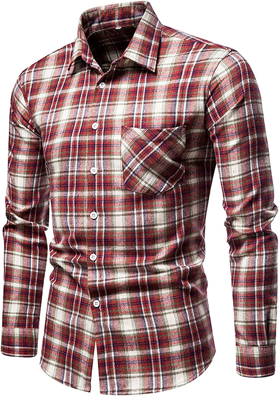 Men Plaid Business Shirts Casual Slim Fit Button Down Dress Shirts Long Sleeve Office Work Formal Shirt