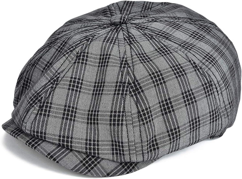 Spring Summer Newsboy Cap Men Women Flat Cap Plaid Check Window Gatsby Cabbie Driver Hat Retro Beret Boina