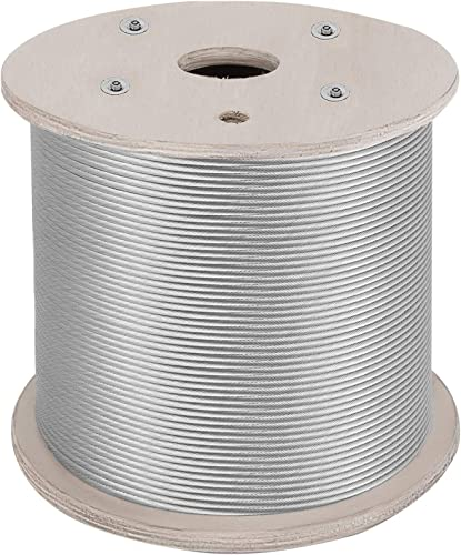 """lowest Mophorn Stainless Steel Cable Railing 1/8""""x 500ft, Wire Rope 316 Marine Grade, Braided new arrival Aircraft Cable 1x19 Strands Construction sale for Deck,Rail,Balusters,Stair,Handrail,Porch,Fence sale"""