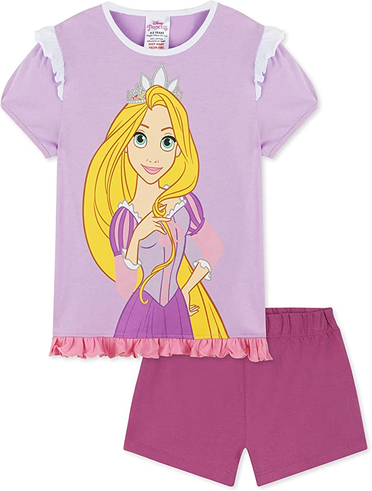 Princess Girls Short Pyjamas, Ariel & Rapunzel PJs Sets Age 2 To 12 Years