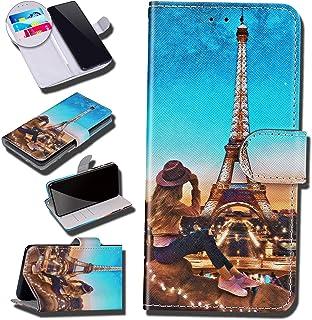 Urhause Case Compatibel met Huawei Y9 Prime 2019 Case Glossy PU Lederen Portemonnee Cover met Kaartsleuven Cover Eiffel Ca...
