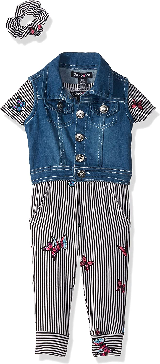 New products, world's highest quality popular! Limited Too Baby Girls' 3 Chicago Mall Piece Vest and Hair Acce Denim Romper