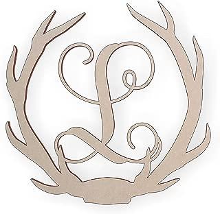 Wooden Deer Antler Monogram Letter L for Wall Decor or Door Hanger, Great for Gifts