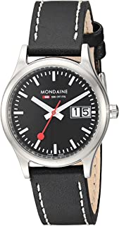 Mondaine SBB Outdoor Wrist Watch for Women (A669.30311.14SBB) Swiss Made, Black Leather Strap, Silver Stainless Steel Case and Black Face
