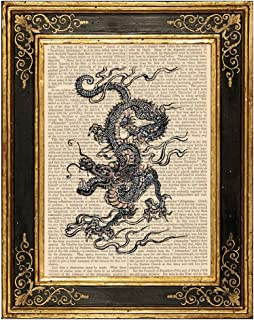 Chinese Dragon Upcycled Vintage Book Page Art Print 8x10 Unframed