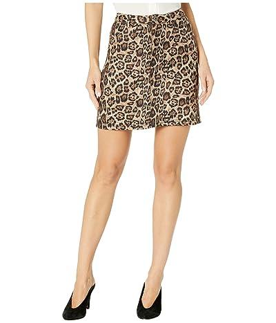 BB Dakota Power Animal Leopard Scuba Suede Skirt (Brown) Women
