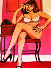 BETTY PAGE PRINT poster sexy naked pin up cigar legs high heels