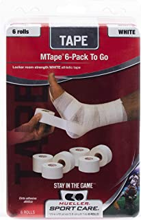Mueller Athletic Tape, 1.5 x 10yd Roll, White, 6 Pack