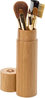 Makeup Brush Set - Beautiful Compact Bamboo Case Perfect for at Home, Purse & Travel with 5 Brushes for Blush/Bronzer, Eye Shadow, Lip Liner, Eyebrow/Eyelash, Concealer. All in One Make Up Brushes Kit
