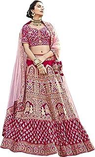 Fast Fashions Women's Silk Semi-stitched Lehenga Choli (FF-5379_Pink_Free Size)