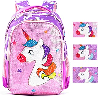 Magic Reversible Sequin School Bag, Lightweight Pre-School Backpack for for Kindergarten or Elementary (Baby Unicorn)