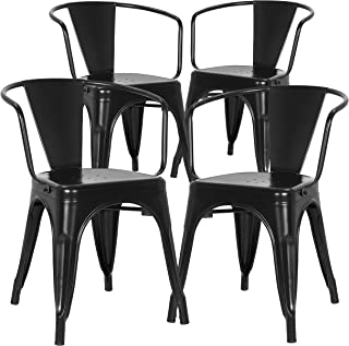 Poly and Bark Trattoria Modern Mid-Century Dining Kitchen Metal Side Arm Chair in Black (Set of 4)