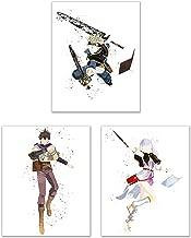 Watercolor Black Clover Poster Prints - Set of 3 (8x10) Glossy Anime Shonen Manga Wall Art Decor - Asta - Yuno - Noelle Silva