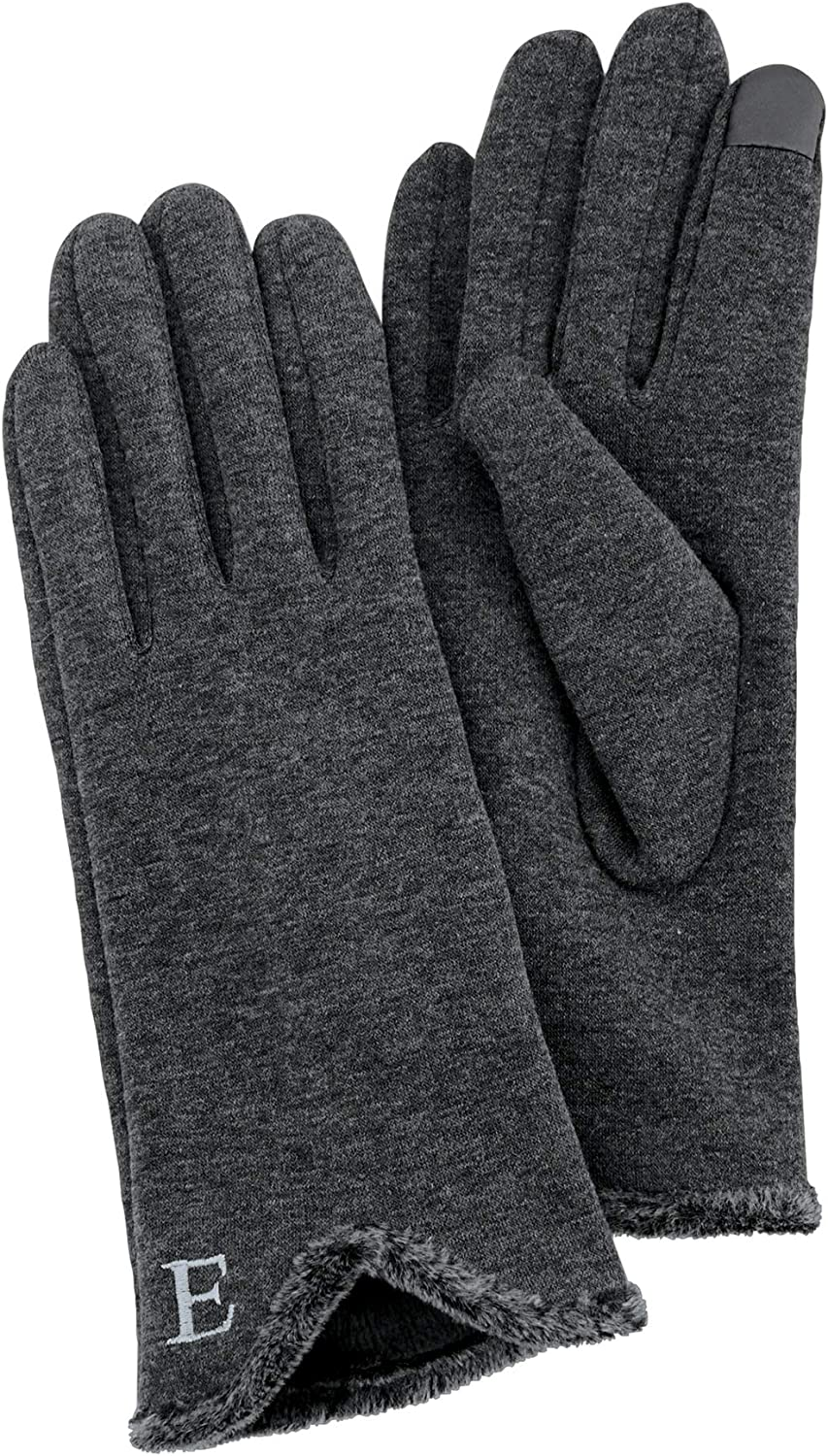 Mud Pie Women's Smart Screen Initial Letter Gloves, Gray, One Size
