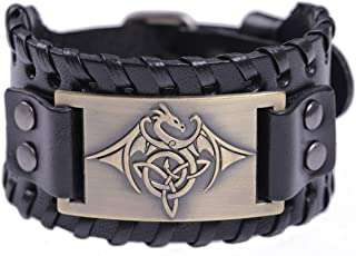 TEAMER Celtic Trinity Knot Triquetra Bracelet Wing Dragon Leather Bracelet Gift Jewelry for Men