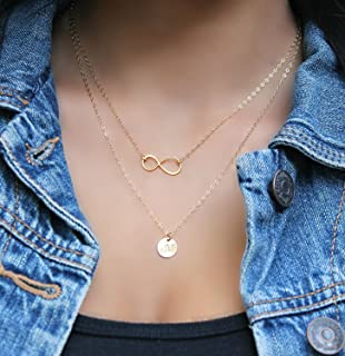 Layered infinity Initial Necklace, 14Kt Gold Filled personalized stamped disc Double chain Monogram Letter, 24k gold vermeil, two chains,2 chains