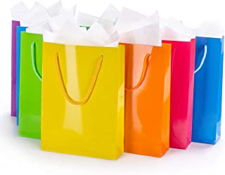 Assorted Gift Bags with Tissue Paper (12-Pack) Medium Colorful, Reusable Totes | Birthday Party, Wedding, Xmas, Baby Shower, Holiday Use | Men, Women, Kids