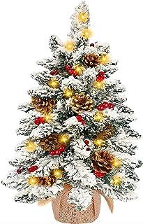 TURNMEON Tabletop Christmas Tree with 50 Lights, Snow Flocked Pre-lit Mini Small..