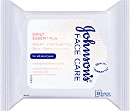 Johnsons Adult JOHNSON'S Daily Essentials Facial Wipes Night Pampering 25 (Purple), 0.22 kg