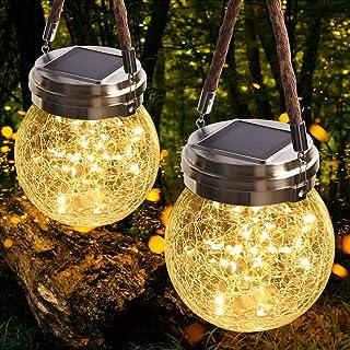 JSOT Lanterne da Esterno, 30 LED Lampade Solare a Luci Solari Esterno Luci Giardino Vintage Lampada Vetro Esterno Impermea...