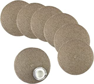 Round Table Placemats for Kitchen Table 15 Inch Round Placemats for Dinner Table Woven Vinyl Heat Resistant Braided Round Placemats Set of 6 (Beige)