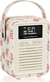 VQ Retro Mini DAB & DAB+ Digital Radio with FM, Bluetooth & Alarm Clock - Emma Bridgewater Rose and Bee